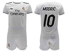 Conjunto Camiseta + Pantalon Corto Real Madrid 2018-2019 Modric 10 Replica Oficial, Ninos