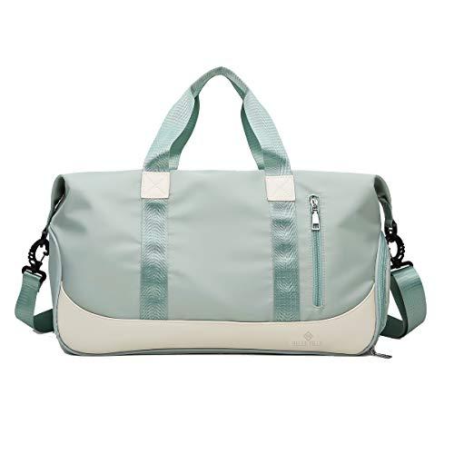 BELLE FILLE Sporttasche Sporttasche Reisetasche mit Fach für Schuhe und Nasstasche, wasserdicht für Damen und Herren, Grün