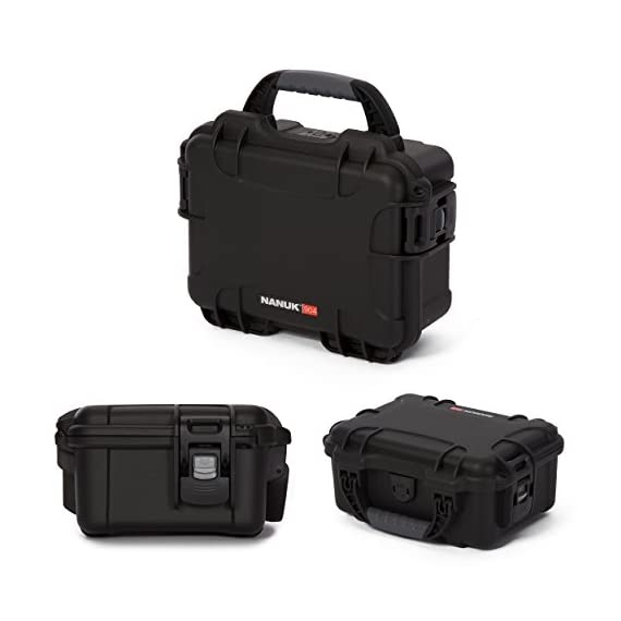 """Nanuk 904 waterproof hard case with foam insert - black 7 interior dimensions l8. 4"""" x w6. 0"""" x h3. 7"""" 