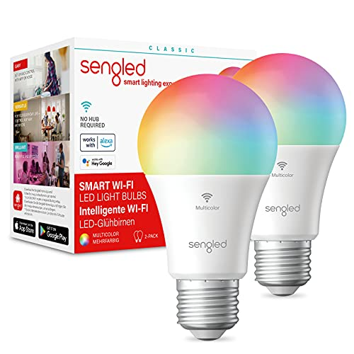Sengled Wi-Fi Ampoules Connectées Alexa E27 RGBW, Google Ampoule Wi-Fi à Changement de Couleur, Compatible avec Alexa/Google Assistant/IFTTT, Ampoule LED Multicolore 60W équivalent 806LM, Pack de 2