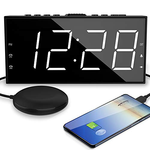 """OnLyee Alarm Clock for Heavy Sleepers - Vibrating Extra Loud Bed Shaker with 7.5"""" Large & Bright LED Display for Bedroom - Dimmer, Snooze & Battery Backup - with USB Port (White)"""