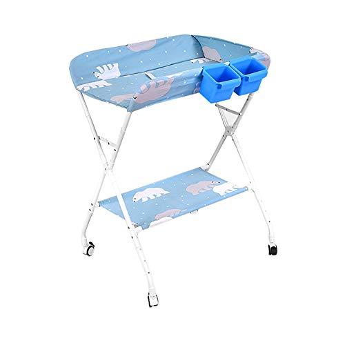 Table à langer Masser unités, Station Couches for bébés Pliante Nursery Organisateur - Cross Style de Jambe (Color : Light Blue)