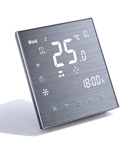 Qiumi Termostato Wifi, aire acondicionado inteligente controlador de temperatura, 4 tubos, funciona con Alexa Página principal de Google,Innovación Panel cepillado(Brillo ajustable)