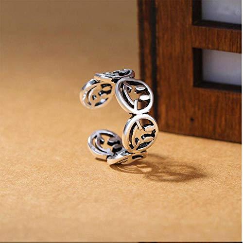 LYWZX Ringe Für Damen Verstellbar 925 Sterling Silber Ringe Für Frauen Thai Silver Smiley Face Öffnungsringe Anillos-Resizable_Inner_Diameter_16Mm