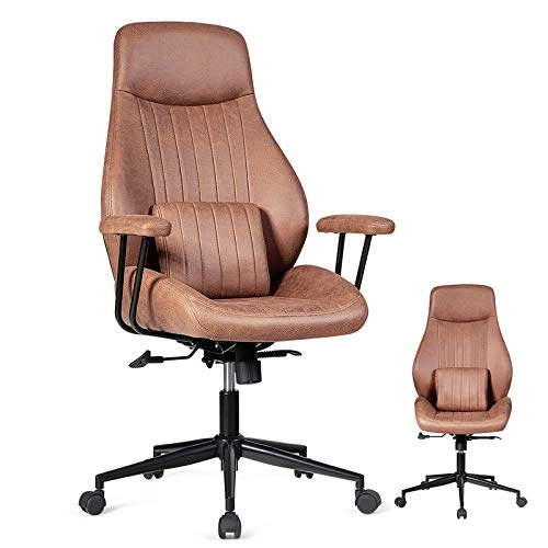 Giantex Suede Leather Office Chair, Modern Computer Desk Chair with Detachable Padded Armrest, High Back Executive Chair, Ergonomic Office Chair w/Lumbar Cushion (Dark Brown)