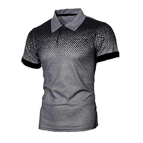 XDJSD Polos para Hombre, Camisetas Cortas, Camisetas De Manga Corta para Hombre, Camisetas con Solapa para Hombre, Polos con Degradado De Marca De Moda De Color Puro, Polos