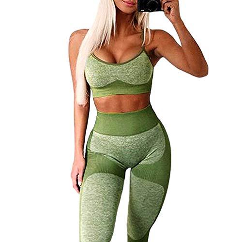 Yying Completi Donna 2pezzi Leggings+Reggiseno Sportivo Set Yoga Compression Skinny Collant Palestra Fitness Yoga Pantaloni Outfit da Allenamento