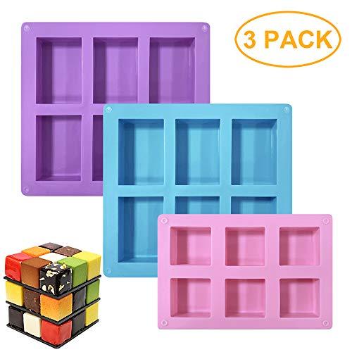 GiantGo 3 paquetes de moldes de pastel de silicona
