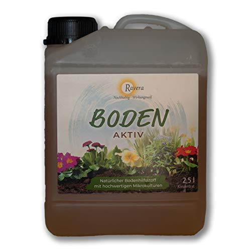 Ravera Boden Aktiv 2,5 Liter Natürlicher Bodenhilfsstoff mit hochwertigen Mikrokulturen - EM-A ohne Zuckerrohrmelasse