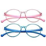 COASION Kids Blue Light Blocking Glasses Round Computer Eyeglasses Frames for Girls Boys Age 3-12 Anti Eyestrain (Clear Pink+Clear Blue)