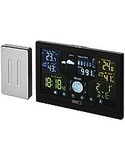 EMOS E6018 radiowa stacja pogodowa z czujnikiem zewnętrznym i kolorowym wyświetlaczem dotykowym + zasilaczem, 13 funkcji: termometr, higrometr, barometr, prognoza pogody, zegar radiowy