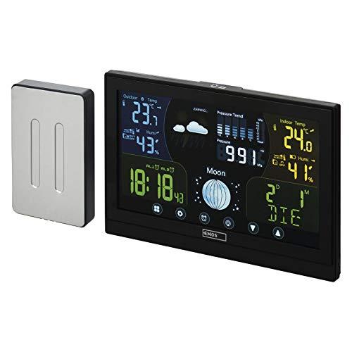 EMOS E6018 Funk Wetterstation mit Außensensor und Touchscreen-Farbdisplay + Netzteil, 13 Funktionen: Thermometer, Hygrometer, Barometer, Wettervorhersage, Funkuhr