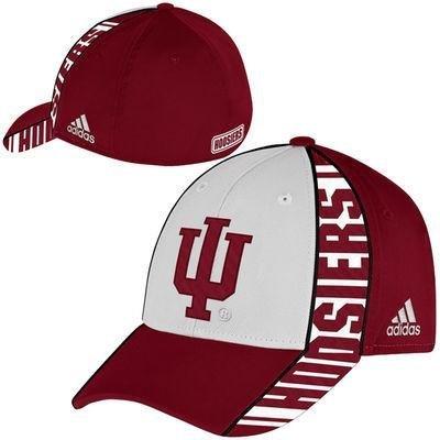 Adidas Indiana Hoosiers Structured Flex - Cappello aderente da uomo bianco/rosso. Large/X-Large