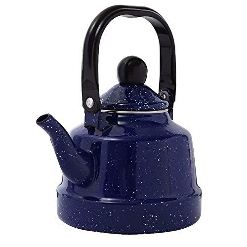 AKEFG Estufa de Tetera, Estufa de leña de Hierro Fundido, Tetera de té esmaltada con Mango de Metal para la Tapa de la Estufa, Diseño Azul con Revestimiento Interior esmaltado para 1700 ml