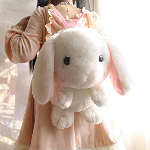 Cute Plush Rabbit Backpack Japanese Kawaii Bunny Backpack Stuffed Rabbit Toy Children School Bag Gift Kids Toy for Little Girl 40cm White