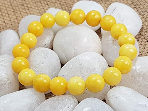 Pulsera de cuentas de cuarzo ámbar amarillo con forma redonda, cuarzo ámbar pulsera de cuentas de piedras preciosas lisas, tamaño 10 mm, 7.5 pulgadas de longitud