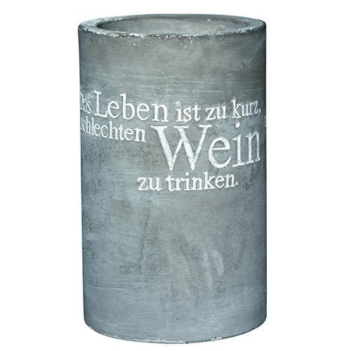Vino, glacette in cemento, 'La vita è troppo breve' (versione tedesca)