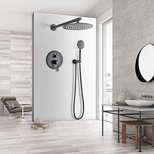 JUNSHENG Juego completo de ducha con sistema de ducha, color negro, empotrable, con alcachofa y alcachofa, latón macizo