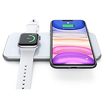 Wireless Charger 2 in 1 Dual Wireless Charging Pad Compatible for iPhone 12/12 Pro/12 Pro Max/11/11 Pro/XS Max/XR/XS/X/8/8P Galaxy S21/S20/Note 10/S10/S9/S8/Note 8 iWatch 6/SE/5/4/3 Airpods 2/Pro