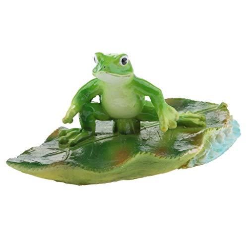 P Prettyia Künstliche Lotusblatt Frosch Wasser Schwimmende Ornament Teich Dekor 3 - Mehrfarbig, B# Recht Frosch
