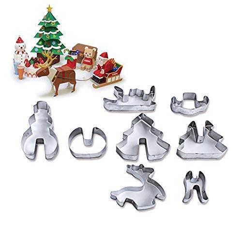 AZX 8 pcs 3D Juego de moldes de Navidad, Moldes para Galletas, Molde Acero Inoxidable para Hornear Galleta de Navidad,Cortadores de Galletas