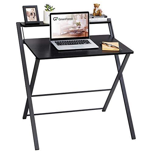 GreenForest - Escritorio plegable para espacios pequeños, 2 niveles, escritorio para computadora con estante, oficina en casa, escritorio pequeño con patas de metal, no requiere ensamblaje, negro