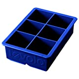 Tovolo Inch Large King Craft Ice Mold Freezer Tray of 2' Cubes for Whiskey, Bourbon, Spirits & Liquor Drinks, BPA-Free Silicone, Set of 1, Stratus Blue