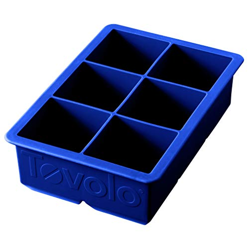 "Tovolo Inch Large King Craft Ice Mold Freezer Tray of 2"" Cubes for Whiskey, Bourbon, Spirits & Liquor Drinks, BPA-Free Silicone, Set of 1, Stratus Blue"