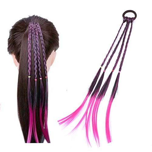 Xiton creativo Fascia per capelli 1 pezzo Anello dei capelli torsione treccia Elastico accessori dei capelli estensione dei capelli colorati Treccine Hairpieces sintetici per adulti e bambini (rosa)