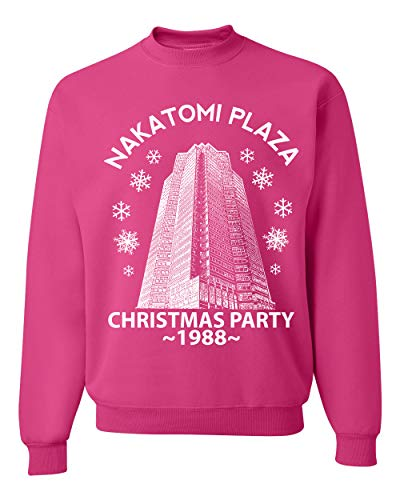 Nakatomi Plaza Christmas Party 1988 Classic McClane Die Hard Xmas | Mens Ugly Christmas Sweater Crewneck Graphic Sweatshirt, Fuschia, X-Large