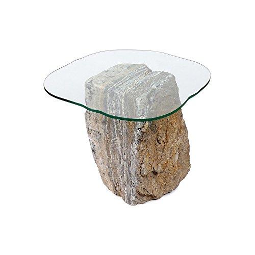 wohnfreuden Onyx marmer steentafel bijzettafel salontafel woonkamer glasplaat 35 x 40 x 48 cm