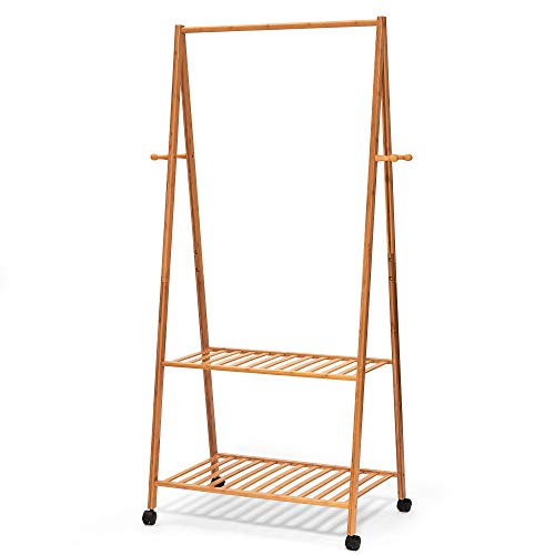 Hapilife 3 in 1 Wooden Coat Stand Hanging Clothes Rail Shoe Storage Shelves Garment Rack 158 x 70 x 44cm