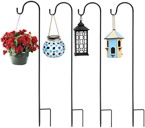 Yinweiwei Adjustable Height Shepherd Crook Hooks,Set of 4 Festoon Pole with Base,3 Section Stitching Black Metal Garden Border Hook for String Lights,Flower Ball,Plant Baskets -76 cm/29.64 in…