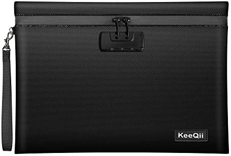 KeeQii Fireproof Money Bag 13 8 x10 0 Waterproof and Fireproof Document Bag with Combination product image