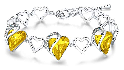 Leafael Infinity Love Heart Link Bracelet with Citrine Yellow Birthstone Crystal, Healing Stone for Happiness, Women's Gifts, Silver-tone, 7' with 2' Extender