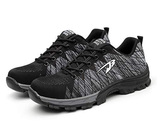 [Junshide] 安全靴 メンズ 作業靴 レディース つま先 足裏保護 登山靴 防滑 通気性 耐摩耗 耐油性 クッション性 鋼製先芯 セーフティーシューズ スニーカーのように履き心地 グレー 25.0cm