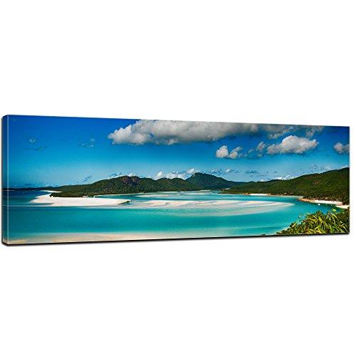 Bilderdepot24 Bild auf Leinwand   Strandlagune Nationalpark Queensland, Australien in 120x40 cm als Panorama Wandbild XXL   Wand-deko Dekoration Wohnung modern Bilder   170518