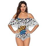 Woof in Word .- - Hollywood - -,Women Off Shoulder Ruffle Swimwear Russia L