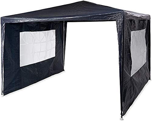 Pavilion Pop-Up 3x3 M, 2 pared lateral, marco de metal para la tienda plegable del jardín,Black