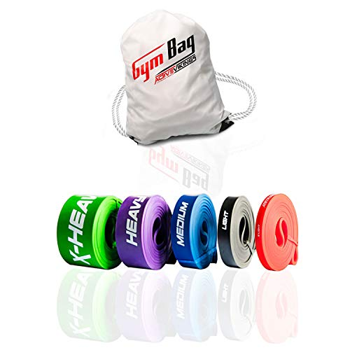 ActiveVikings® Pull-Up Fitnessbänder | Perfekt für Muskelaufbau und Crossfit Freeletics Calisthenics | Fitnessband Klimmzugbänder Widerstandsbänder (F - Full Package (Komplett Set + Gym Bag))