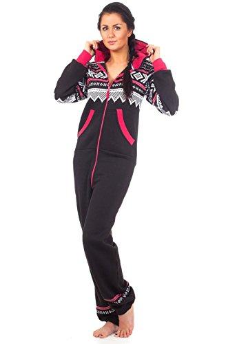 Loomiloo® Jumpsuit Freizeitanzug Overall Hausanzug Einteiler Strampler Body Anzug Jumpsuits Overalls Pyjama Norweger Muster (Schwarz) - 2