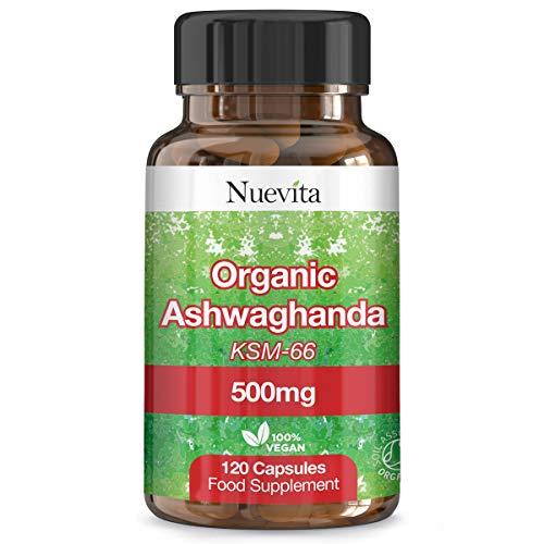 Organic Ashwagandha 500mg KSM66, 120 Vegan Capsules. 4 Month's Supply