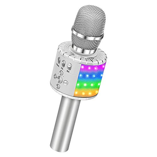 BONAOK Wireless Bluetooth Karaoke Microphone with Multi-color LED Lights, 4 in 1 Portable Handheld Karaoke Speaker Machine Thanksgiving Day for Android/iPhone/iPad/Sony/PC or All Smartphone (Silver)