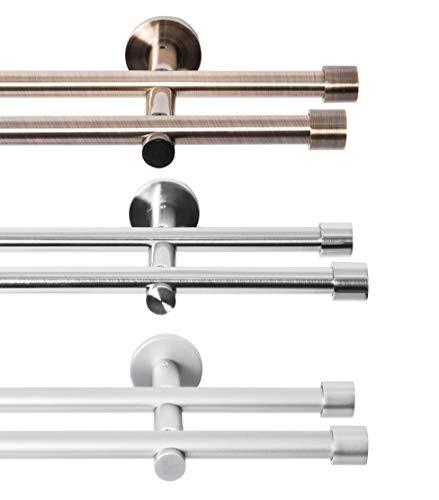 Rollmayer glänzend Metall Gardinenstange Ø 16mm Rohr, Edelstahl für Ösenvorhang, Gardinen (Crux 240cm lang, Edelstahl, 2-läufig) Einfache Montage modern Vorhangstange Ohne Ringe!