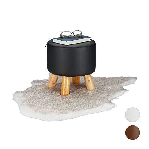 Relaxdays Hocker Kunstleder, gepolstert, 4 Holzbeine, Flacher Fußhocker, runder Dekohocker, H x D: 30 x 31 cm, schwarz, Größe