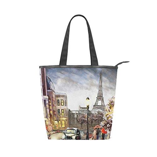 Jeansame tela, borsa da donna, shopper maniglia superiore spalla Borsa con cerniera vintage Parigi torre Eiffel floreale fiori pittura ad olio