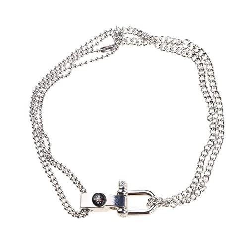 XIGAWAY Collar con colgante de calavera con símbolo de la medicina de Caduceo, Tela,
