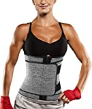 Women Neoprene Sauna Sweat Waist Trainer Belt Belly Cincher Corset Trimmer Band (Grey with One Belt, L)