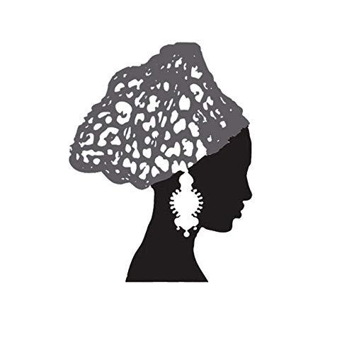 Afrikaanse Vrouw Vintage Oorbellen Sjaal Salon Verwijderbare Vinyl Muursticker Decal Home Decor DIY Art Badkamer Woonkamer Decorate60X78Cm