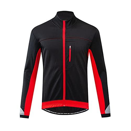 Maillot Bicicleta Hombre Maillot Ciclismo con Mangas Largas Mantenimiento cálido Jersey MTB con Bolsillo para Invierno (Red,5XL)